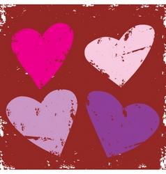 valentine grunge hearts vector image