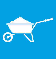 Wheelbarrow loaded with soil icon white vector