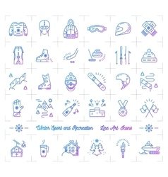 Winter sport gradient outline icons Seasonal vector