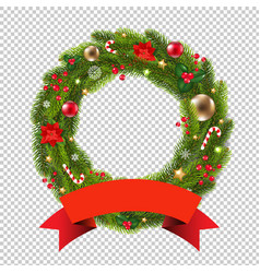 wreath with ribbon transparent background vector image