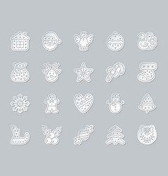 Xmas gingerbread simple paper cut icons set vector