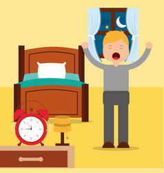 Young man happy waking up standing next bed with vector
