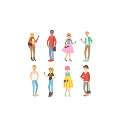 young people in fashion clothes harismatic boys vector image
