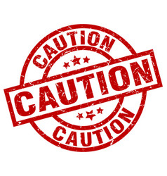caution round red grunge stamp vector image