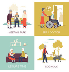 old age people design concept 2x2 vector image vector image