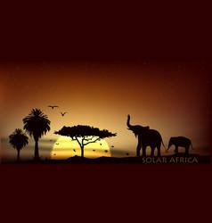 Sunrise over the savannah with african elephants vector