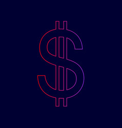 united states dollar sign line icon with vector image