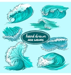 Waves icons set colored vector