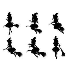 Witch with Broom Silhouette vector image vector image