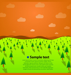 landscape with green trees hills and sky vector image