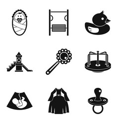 maternity leave icons set simple style vector image