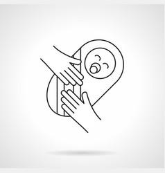 newborn baby flat line icon vector image vector image