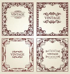 vintage frames - set vector image vector image