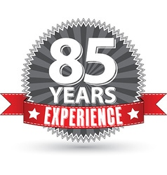 85 years experience retro label with red ribbon vector image