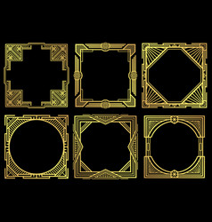 art deco nouveau border frames in 1920s style vector image vector image