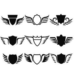 black shield wings icon vector image