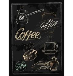 chalk coffee vector image vector image