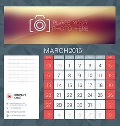 Desk Calendar for 2016 Year March Stationery vector image vector image