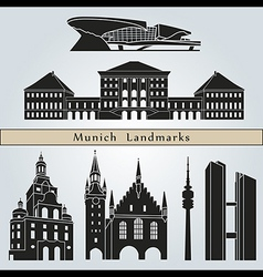 Munich landmarks and monuments vector image