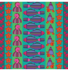 Seamless pattern with stylize fishes vector image