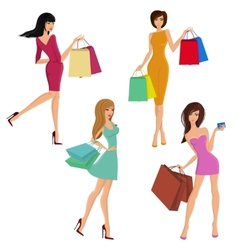 Shopping girl figures vector image vector image