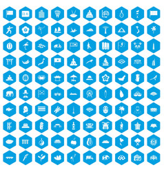 100 asian icons set blue vector