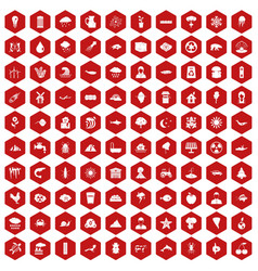 100 earth icons hexagon red vector image