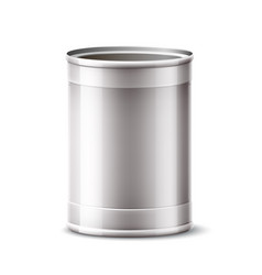3d tin can silver container for product vector image