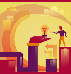 abstract hand holding light bulb business man new vector image