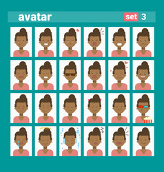 african american female different emotion set vector image