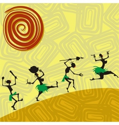 African traditional picture with silhouettes vector