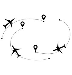 Airplane line path flight routes vector