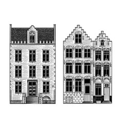 amsterdam houses urban residential buildings vector image