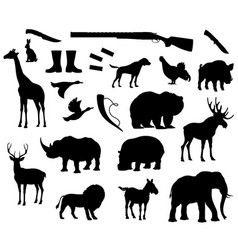 Animals silhouette isolated icons for hunt vector