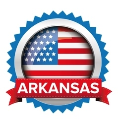 Arkansas and USA flag badge vector