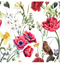 Beautiful floral summer seamless pattern vector