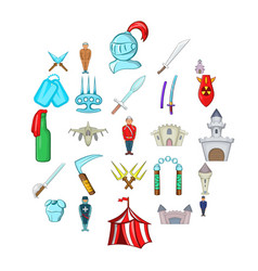 belligerent icons set cartoon style vector image