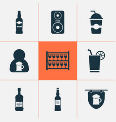 beverages icons set with cocktail with lemon vector image