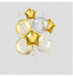 birthday golden star balloons and confetti vector image
