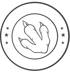Black and white dinosaur paw with claws circle log vector