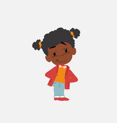 Black girl smiling peacefully vector