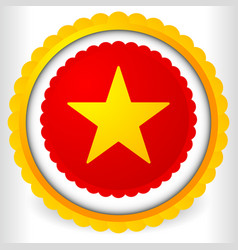 Blank badge rosette cockade icon with yellow star vector