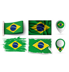 Brazilia flags collection isolated on white vector