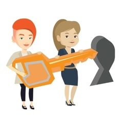 Businesspeople holding key in front of keyhole vector