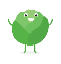 Cabbage cute vegetable character vector