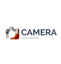 Camera logo design made of color pieces vector image