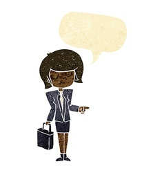 Cartoon businesswoman pointing with speech bubble vector