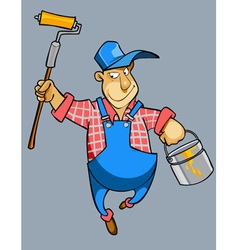Cartoon male house painter worker in uniform vector