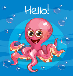 Cartoon octopus hello vector