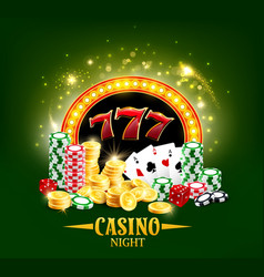 casino poker cards and dice jackpot gamble night vector image